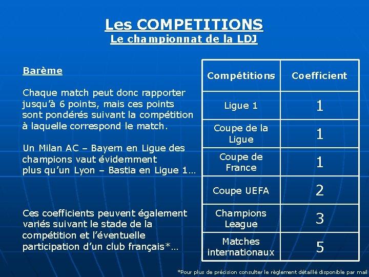 Les COMPETITIONS Le championnat de la LDJ Barème Chaque match peut donc rapporter jusqu'à