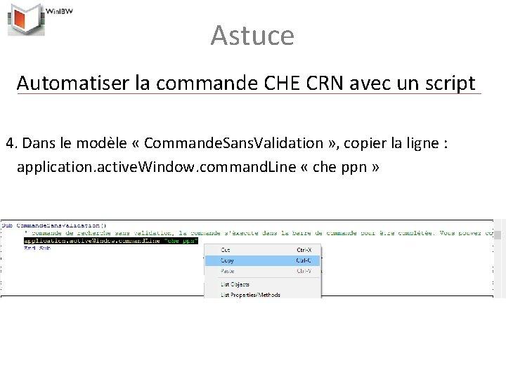 Astuce Automatiser la commande CHE CRN avec un script 4. Dans le modèle «