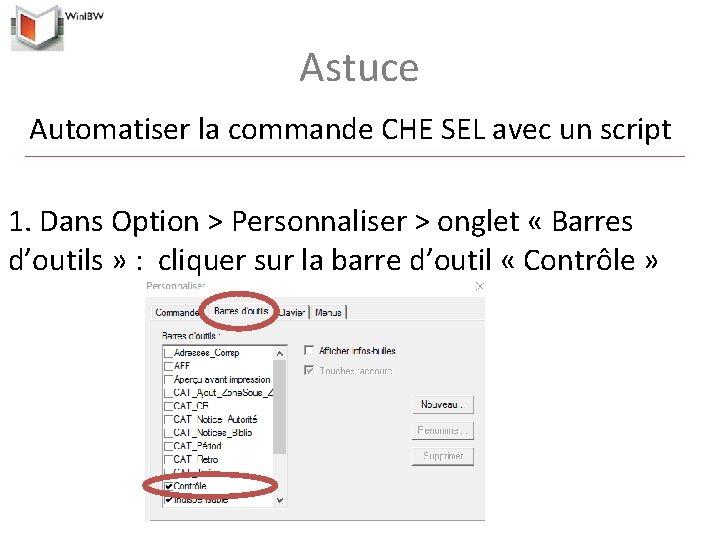 Astuce Automatiser la commande CHE SEL avec un script 1. Dans Option > Personnaliser