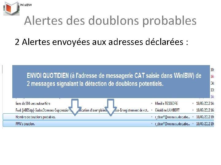 Alertes doublons probables 2 Alertes envoyées aux adresses déclarées :