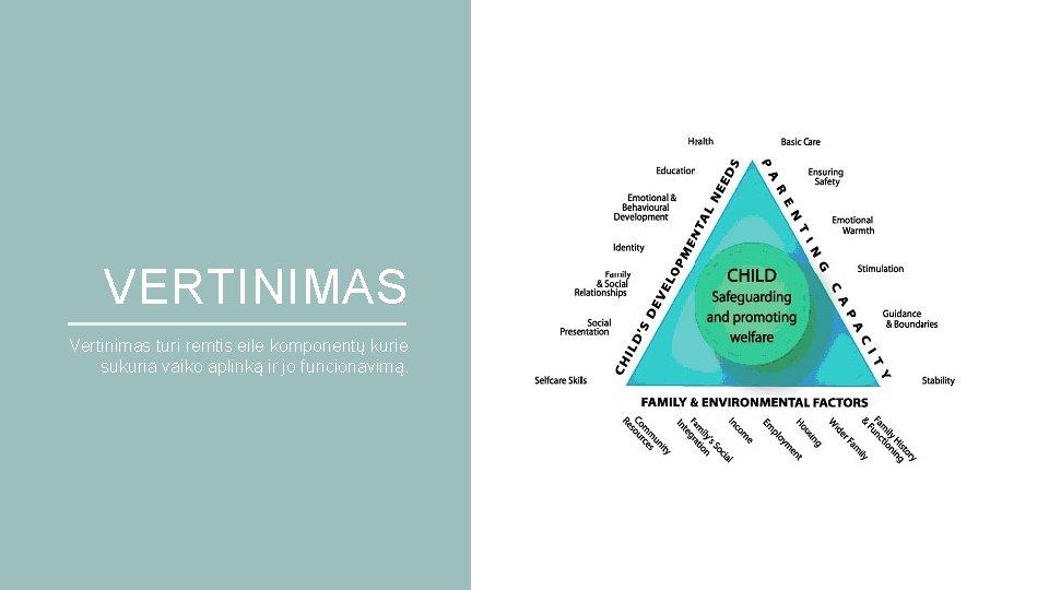 VERTINIMAS Vertinimas turi remtis eile komponentų kurie sukuria vaiko aplinką ir jo funcionavimą.