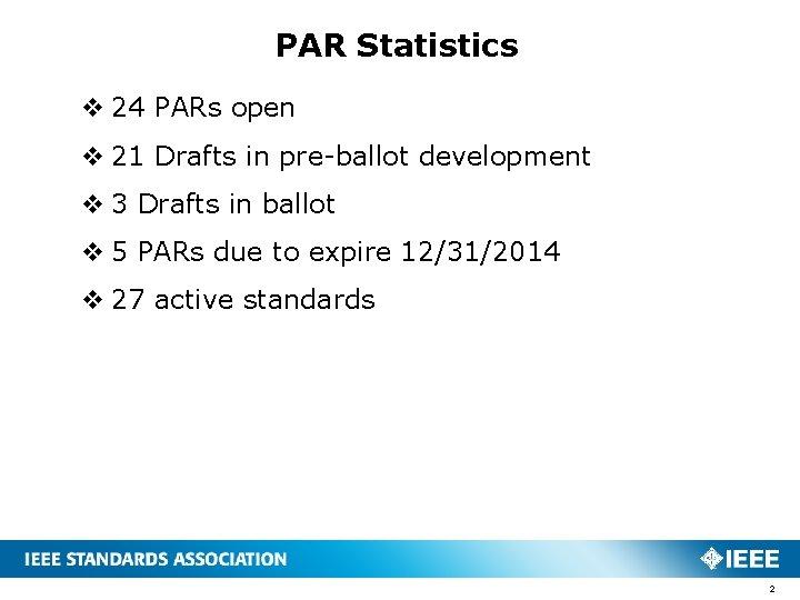 PAR Statistics v 24 PARs open v 21 Drafts in pre-ballot development v 3