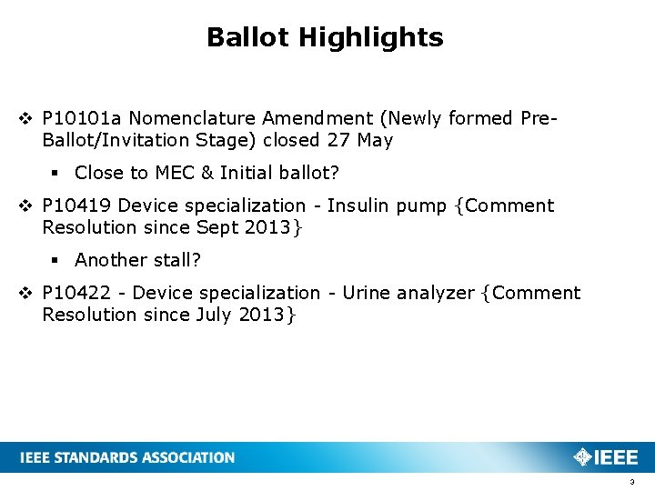 Ballot Highlights v P 10101 a Nomenclature Amendment (Newly formed Pre. Ballot/Invitation Stage) closed