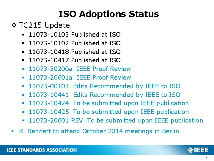 ISO Adoptions Status v TC 215 Update § § § 11073 -10103 Published at