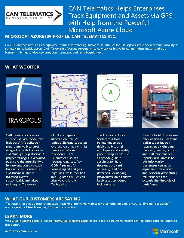 CAN Telematics Helps Enterprises Track Equipment and Assets via GPS, with Help from the