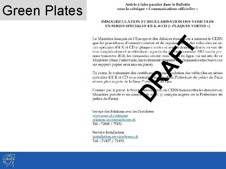DR AF T Green Plates