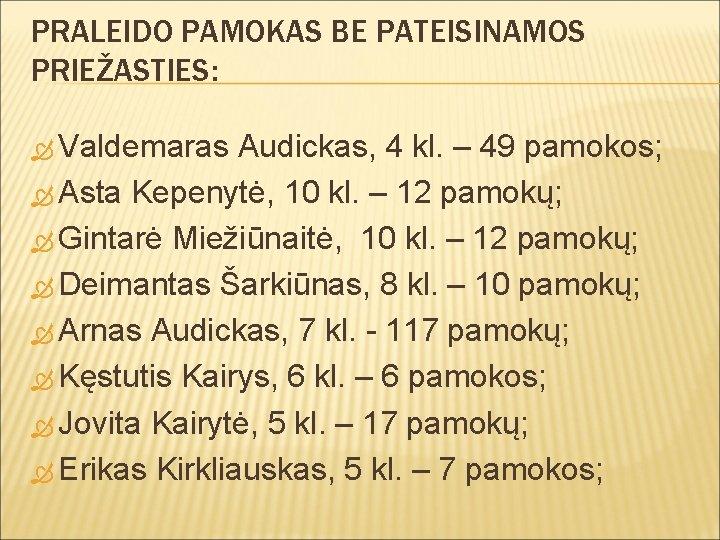 PRALEIDO PAMOKAS BE PATEISINAMOS PRIEŽASTIES: Valdemaras Audickas, 4 kl. – 49 pamokos; Asta Kepenytė,