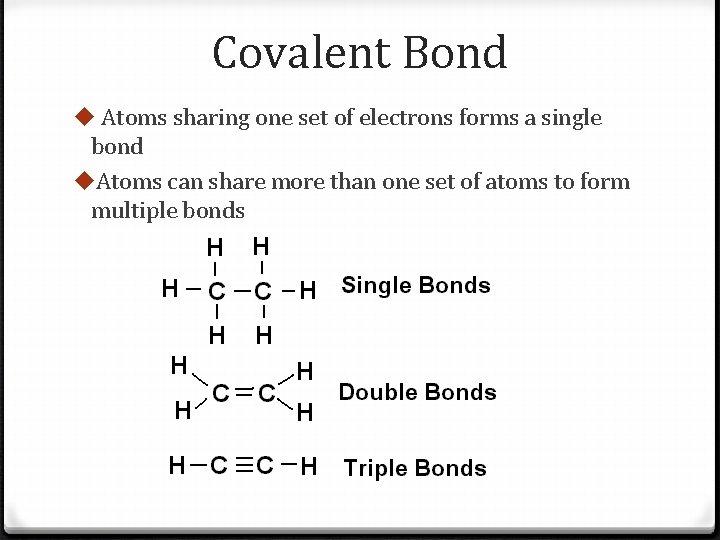 Covalent Bond u Atoms sharing one set of electrons forms a single bond u.
