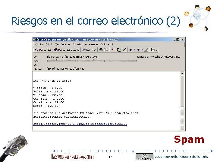 Riesgos en el correo electrónico (2) Spam 17 2006 Fernando Montero de la Peña
