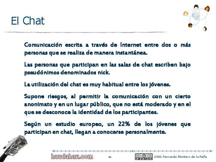 El Chat Comunicación escrita a través de Internet entre dos o más personas que