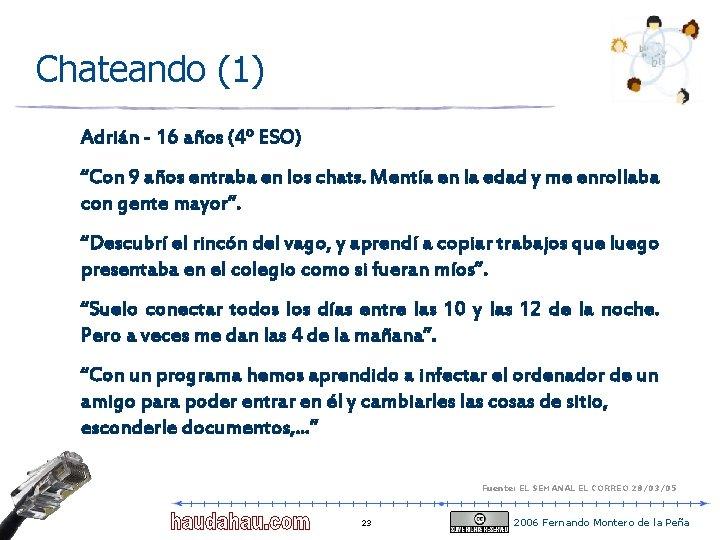 """Chateando (1) Adrián - 16 años (4º ESO) """"Con 9 años entraba en los"""