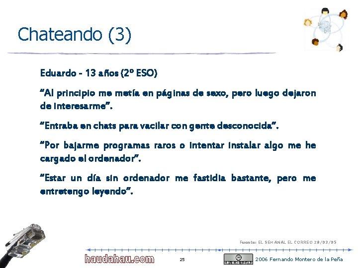 """Chateando (3) Eduardo - 13 años (2º ESO) """"Al principio me metía en páginas"""