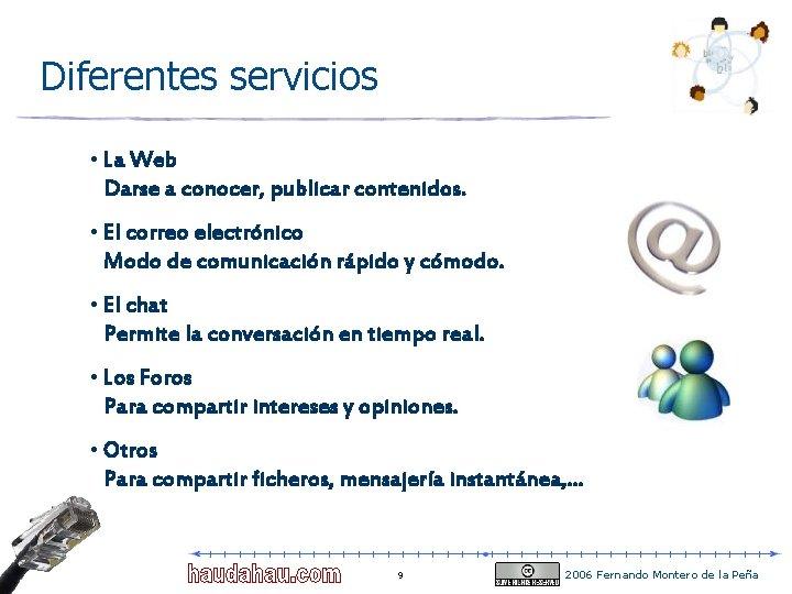 Diferentes servicios • La Web Darse a conocer, publicar contenidos. • El correo electrónico