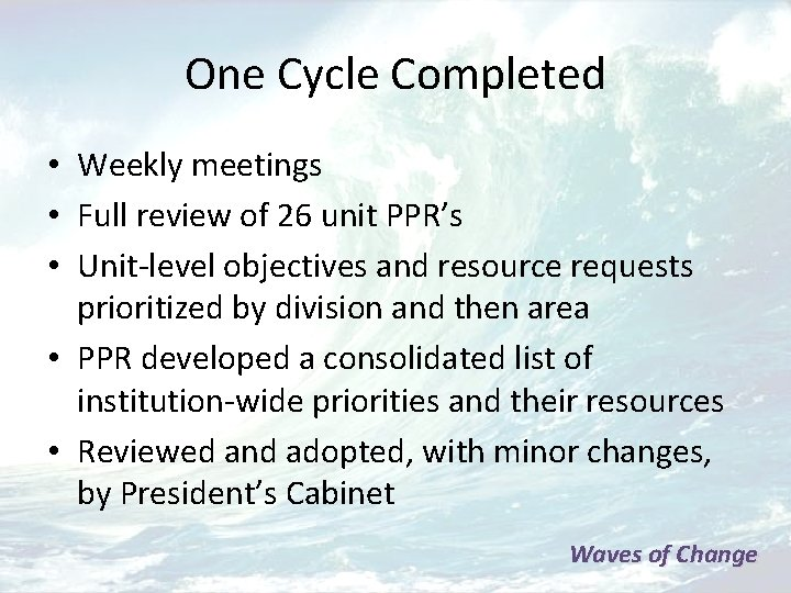 One Cycle Completed • Weekly meetings • Full review of 26 unit PPR's •