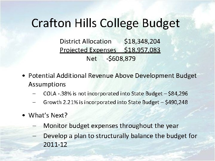 Crafton Hills College Budget District Allocation $18, 348, 204 Projected Expenses $18, 957, 083