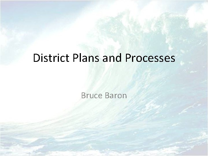 District Plans and Processes Bruce Baron