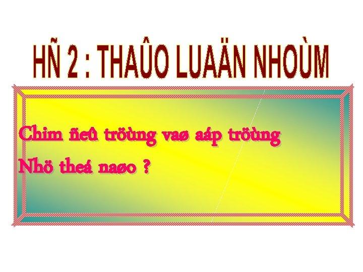 Chim ñeû tröùng vaø aáp tröùng Nhö theá naøo ?