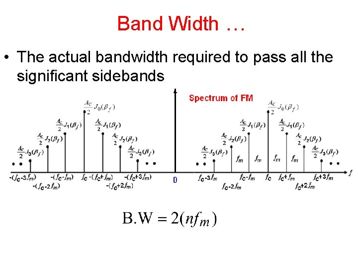 Band Width … • The actual bandwidth required to pass all the significant sidebands