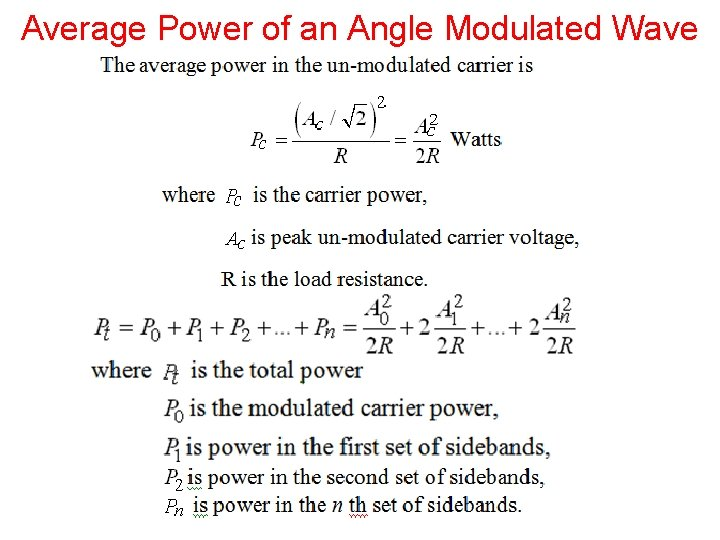Average Power of an Angle Modulated Wave