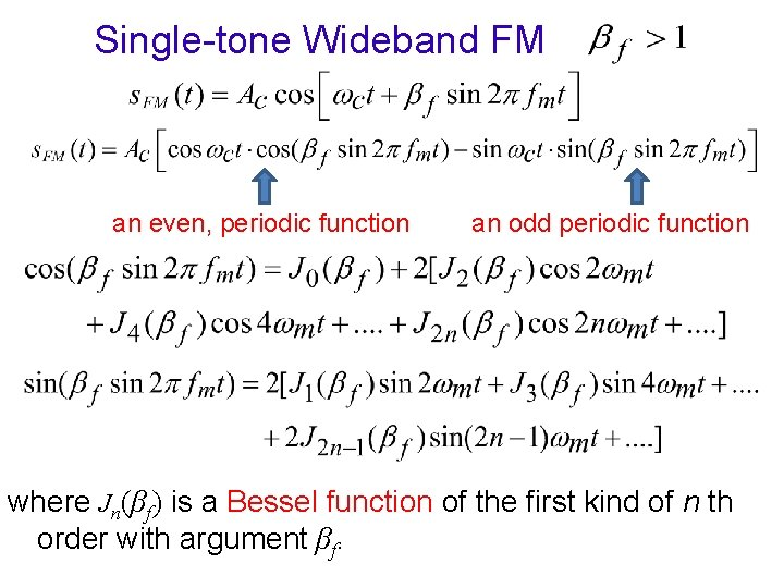 Single-tone Wideband FM an even, periodic function an odd periodic function where Jn(βf) is