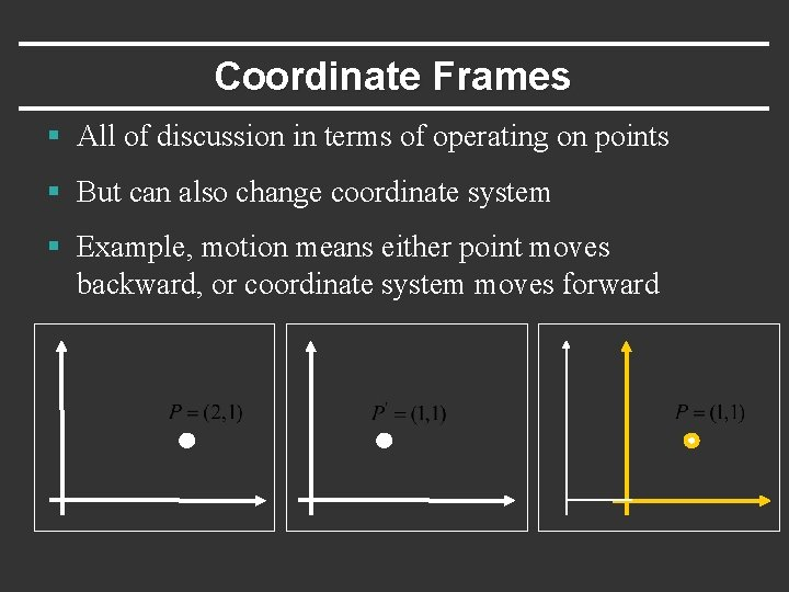 Coordinate Frames § All of discussion in terms of operating on points § But