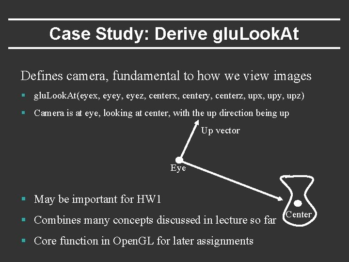 Case Study: Derive glu. Look. At Defines camera, fundamental to how we view images