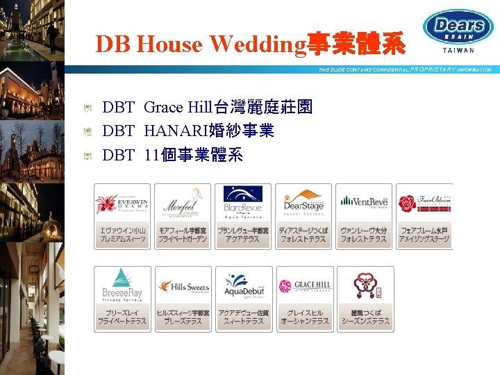 DB House Wedding事業體系 THIS SLIDE CONTAINS CONFIDENTIAL PROPRIETARY INFORMATION DBT Grace Hill台灣麗庭莊園 DBT HANARI婚紗事業