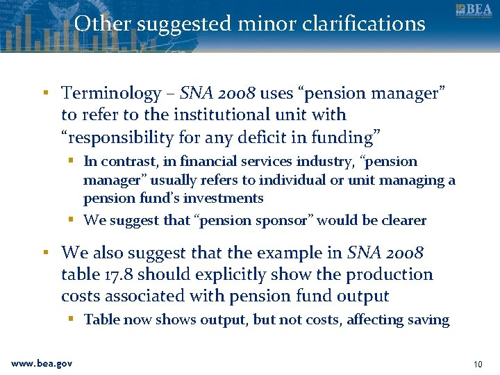 """Other suggested minor clarifications ▪ Terminology – SNA 2008 uses """"pension manager"""" to refer"""