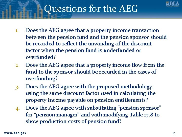 Questions for the AEG 1. 2. 3. 4. Does the AEG agree that a