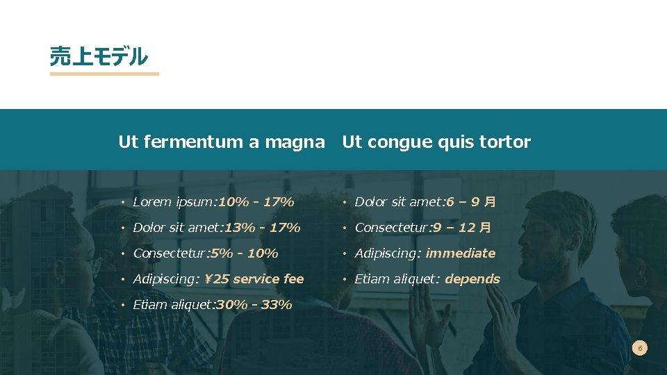 売上モデル Ut fermentum a magna Ut congue quis tortor • Lorem ipsum: 10% -