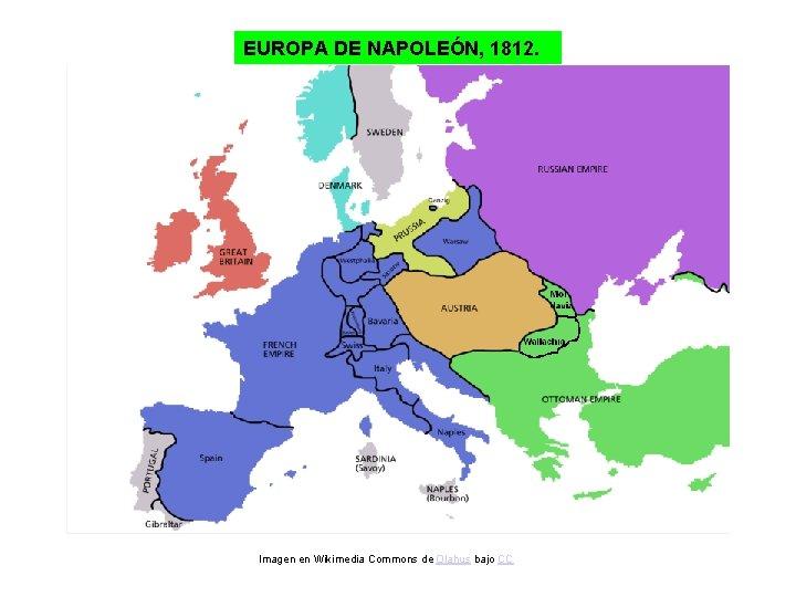 EUROPA DE NAPOLEÓN, 1812. Imagen en Wikimedia Commons de Olahus bajo CC