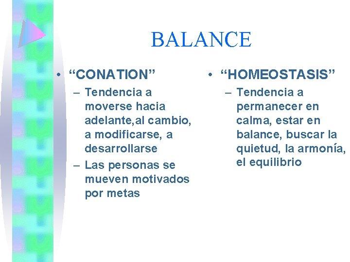 """BALANCE • """"CONATION"""" – Tendencia a moverse hacia adelante, al cambio, a modificarse, a"""