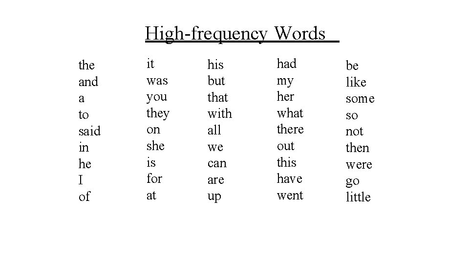 High-frequency Words the and a to said in he I of it was you