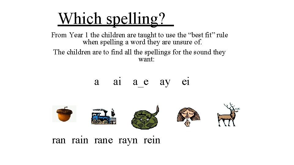 """Which spelling? From Year 1 the children are taught to use the """"best fit"""""""