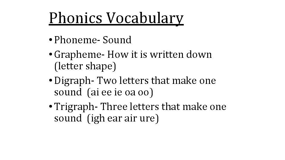 Phonics Vocabulary • Phoneme- Sound • Grapheme- How it is written down (letter shape)