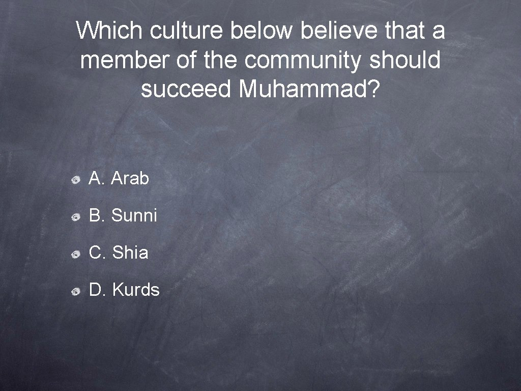 Which culture below believe that a member of the community should succeed Muhammad? A.
