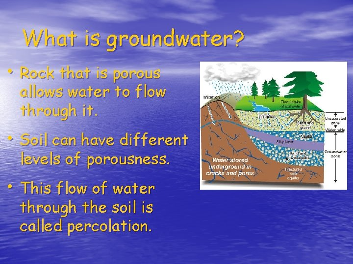 What is groundwater? • Rock that is porous allows water to flow through it.