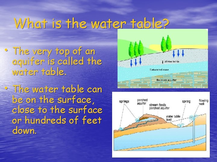 What is the water table? • The very top of an aquifer is called