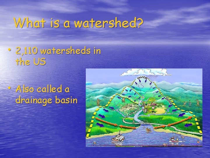 What is a watershed? • 2, 110 watersheds in the US • Also called