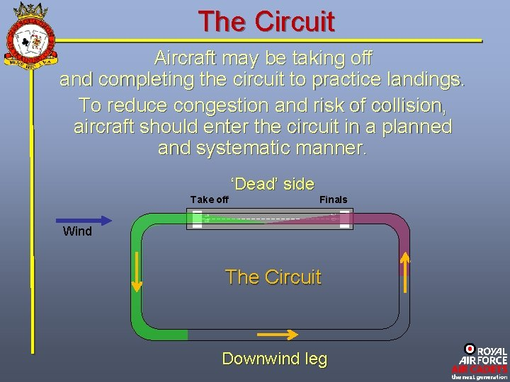 The Circuit Aircraft may be taking off and completing the circuit to practice landings.