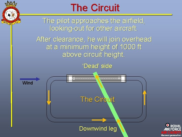 The Circuit The pilot approaches the airfield, looking-out for other aircraft. After clearance, he