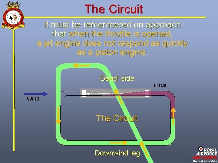 The Circuit It must be remembered on approach that when the throttle is opened,