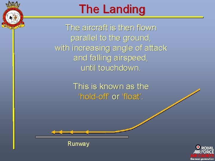 The Landing The aircraft is then flown parallel to the ground, with increasing angle