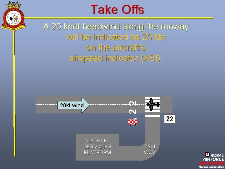 Take Offs 22 A 20 knot headwind along the runway will be indicated as