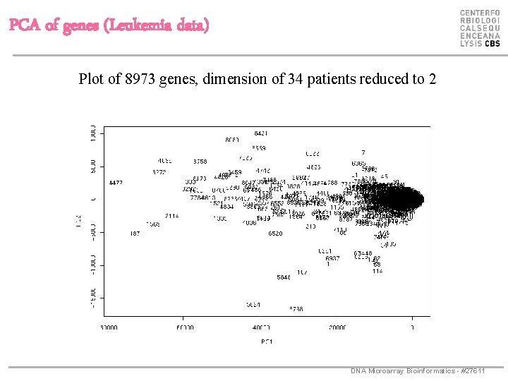 PCA of genes (Leukemia data) Plot of 8973 genes, dimension of 34 patients reduced