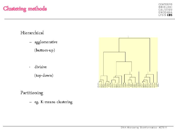 Clustering methods Hierarchical – agglomerative (buttom-up) - divisive (top-down) Partitioning – eg. K-means clustering
