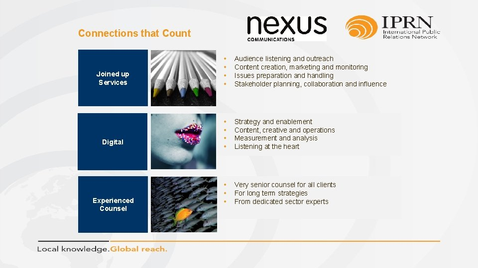 Connections that Count Joined up Services Digital Experienced Counsel • • Audience listening and