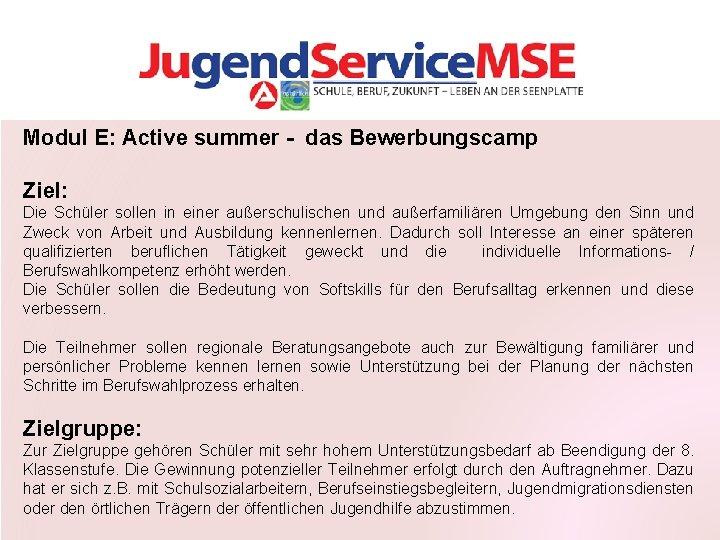 Modul E: Active summer - das Bewerbungscamp Ziel: Die Schüler sollen in einer außerschulischen