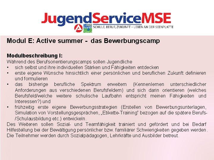 Modul E: Active summer - das Bewerbungscamp Modulbeschreibung I: Während des Berufsorientierungscamps sollen Jugendliche