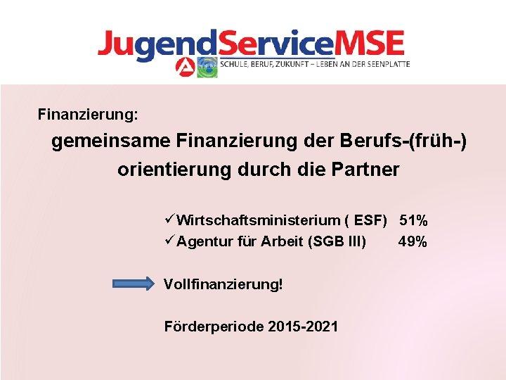 Finanzierung: gemeinsame Finanzierung der Berufs-(früh-) orientierung durch die Partner ü Wirtschaftsministerium ( ESF) 51%